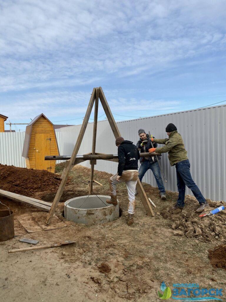 монтаж кольца для бетонного септика